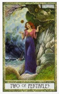 Druid Craft Tarot - 2 of Pentacles
