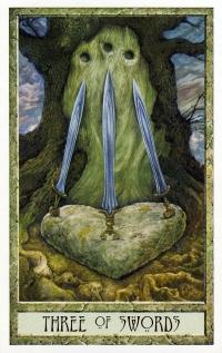 Druid Craft Tarot - 3 of Swords