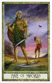 Druid Craft Tarot - 5 of Swords