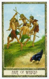 Druid Craft Tarot - 5 of Wands